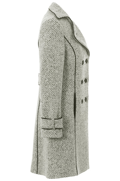 94fafcb1b79 ... Busy Clothing Womens 3 4 White   Black Tweed Wool Blend Coat Side View
