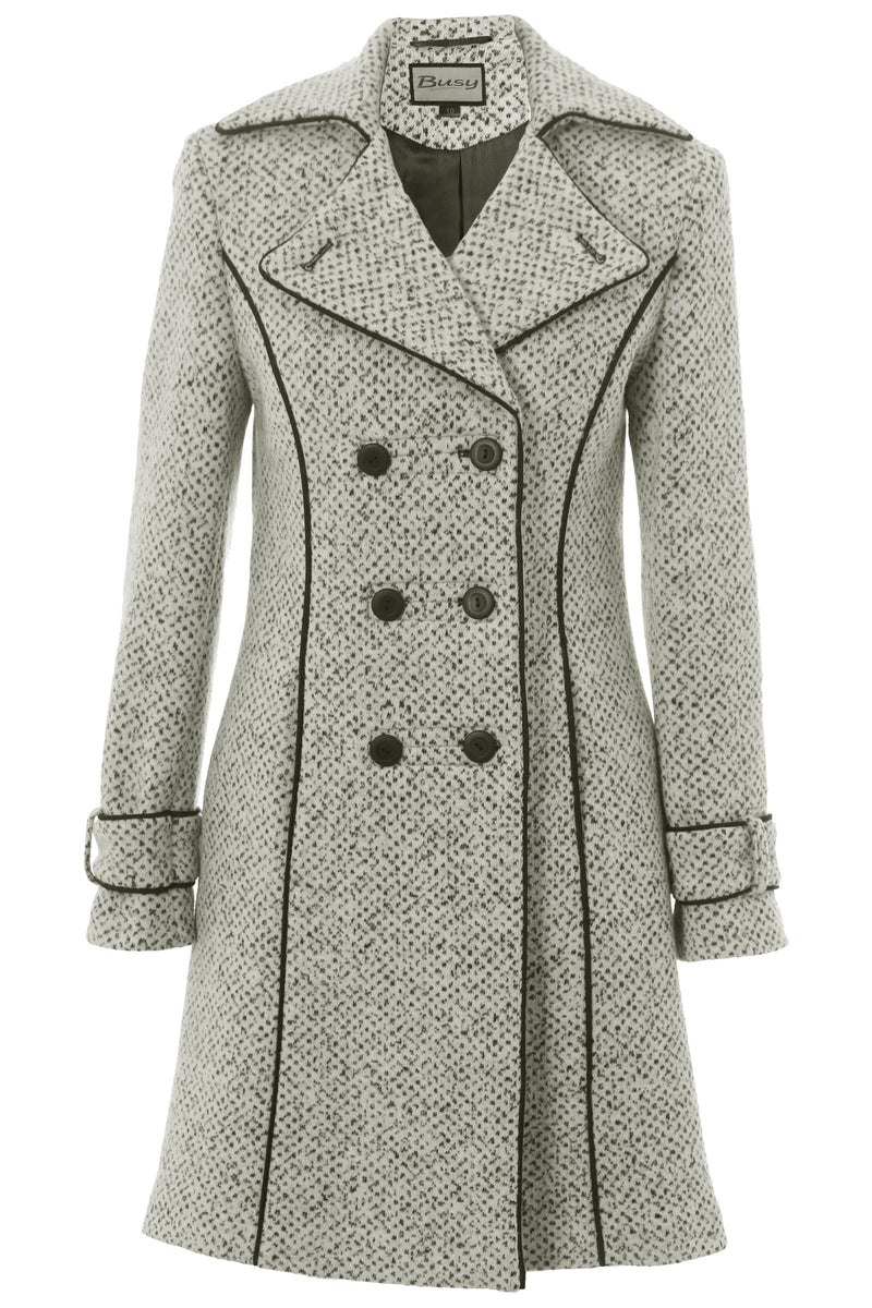 new style 11fcf 47cfd Busy Clothing Womens 3/4 White & Black Tweed Wool Blend Coat
