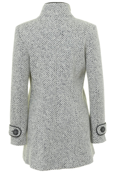 7cc22943e80 ... Busy Clothing Womens White   Black Tweed High Neck Wool Blend Coat ...