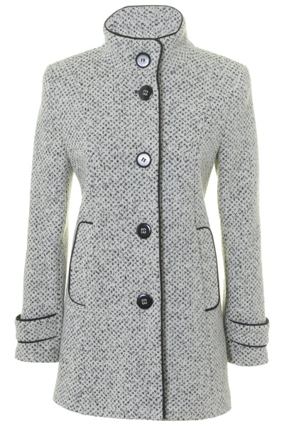 7cbf62107e2 Busy Clothing Womens White   Black Tweed High Neck Wool Blend Coat ...