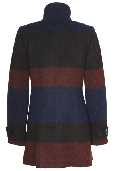 Busy Womens Multi Colour Lined High Neck Wool Blend Coat