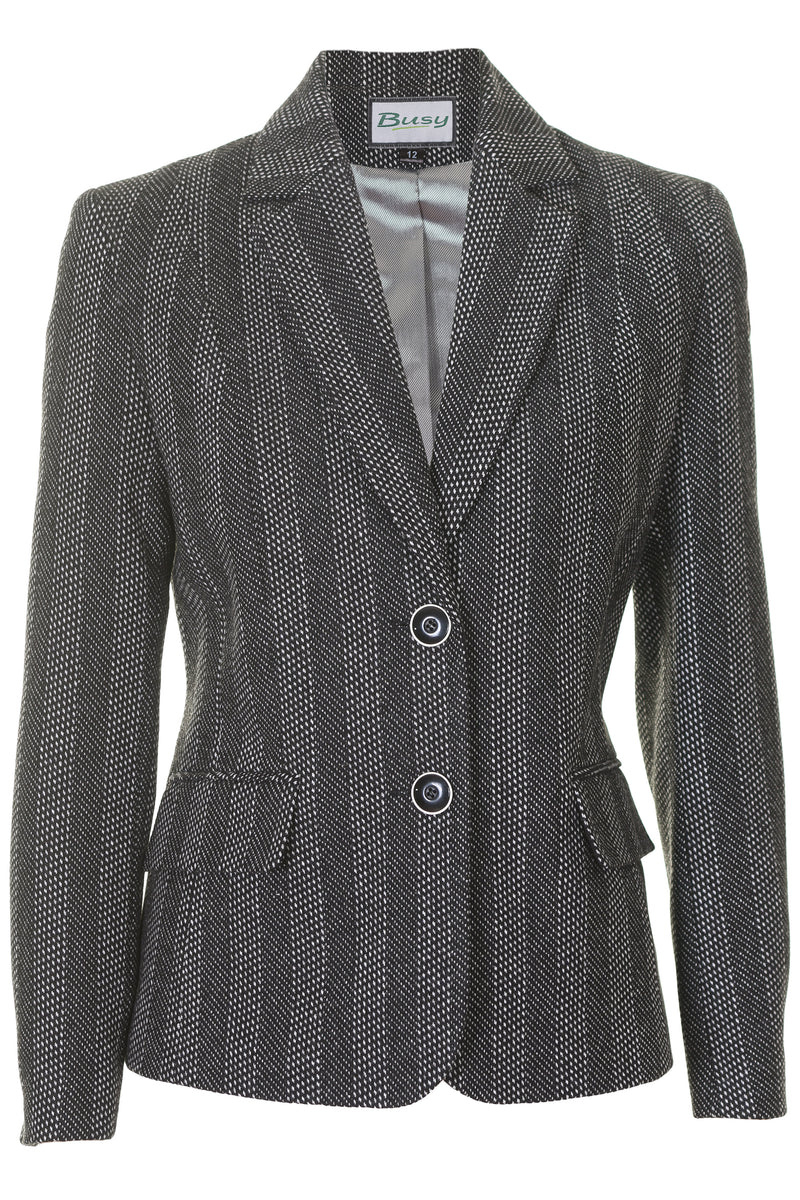 Busy Clothing Women Black And White Wool Blend Jacket