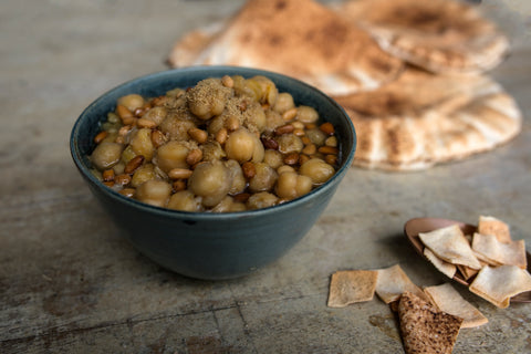 Balila - Warm spiced chickpeas with pine nuts