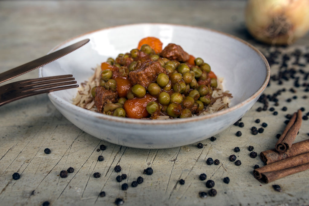 Bazella w rizz - Beef stew with peas & carrots
