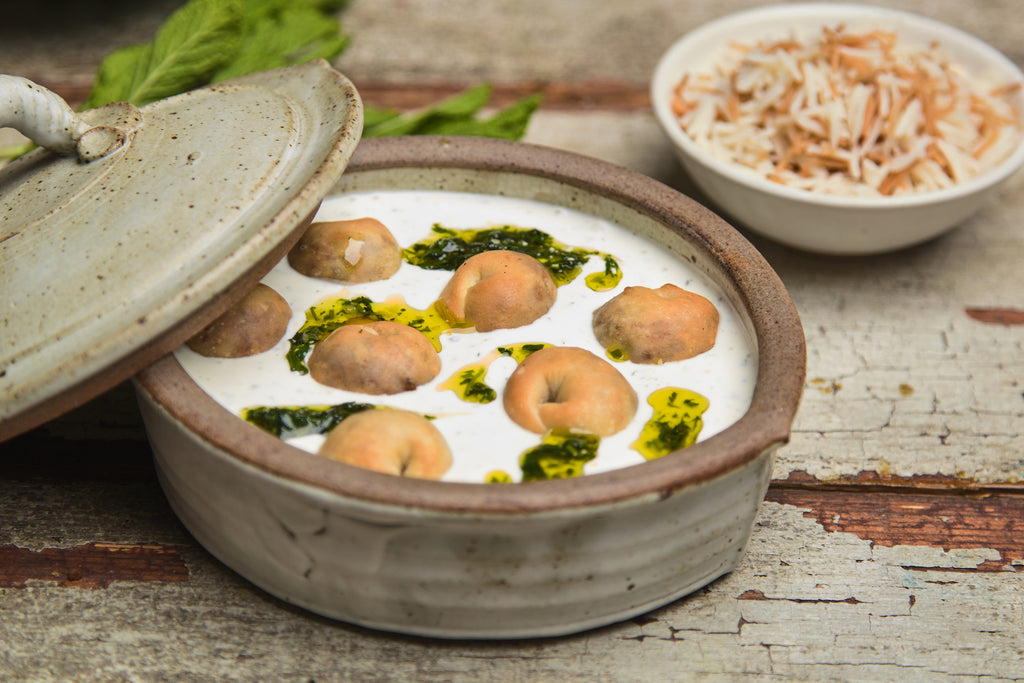 Chich barak - Beef dumplings in minty yogurt