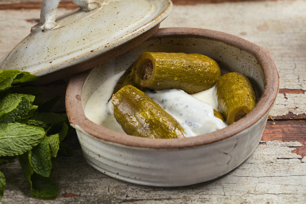 Kousa bil laban - Stuffed courgettes in yogurt sauce