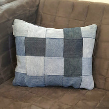 Denim Checkers Pillow-Linens-in2ition mercantile