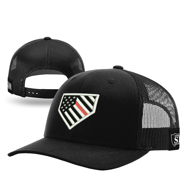 Home Plate Red Line Flag Hat