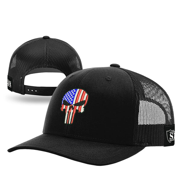 Punisher Flag Baseball Cap Black Flat Bill Mesh Snapback Adjustable Hat