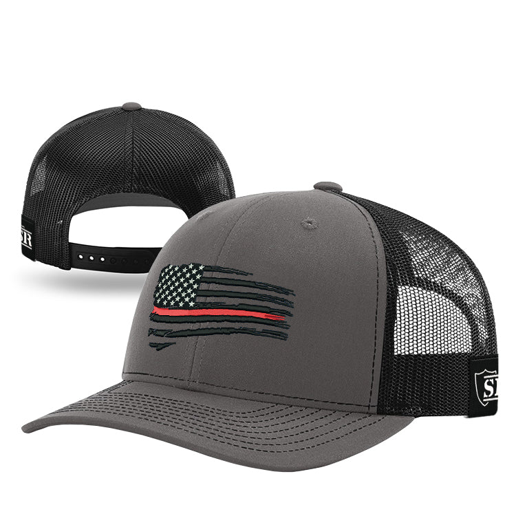 Black Tethered Flag Red Line Hat