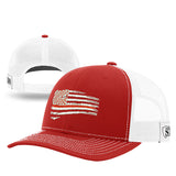 Tethered Red Line Flag Mesh Back Hat