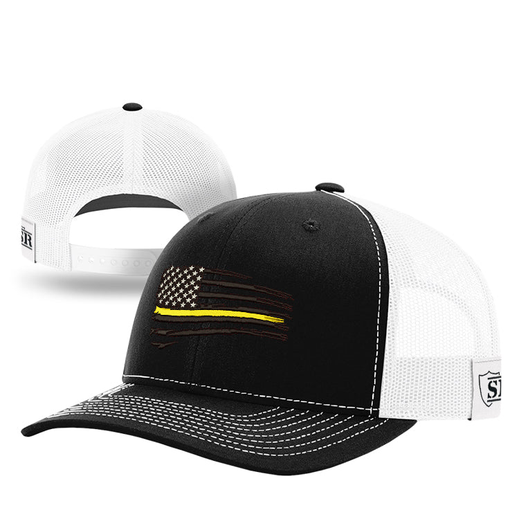 Black Tethered Flag Yellow Line Hat
