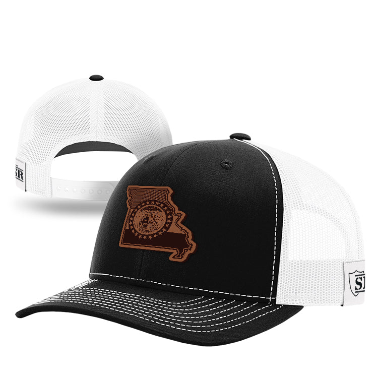 MO State Flag Leather Patch Hat