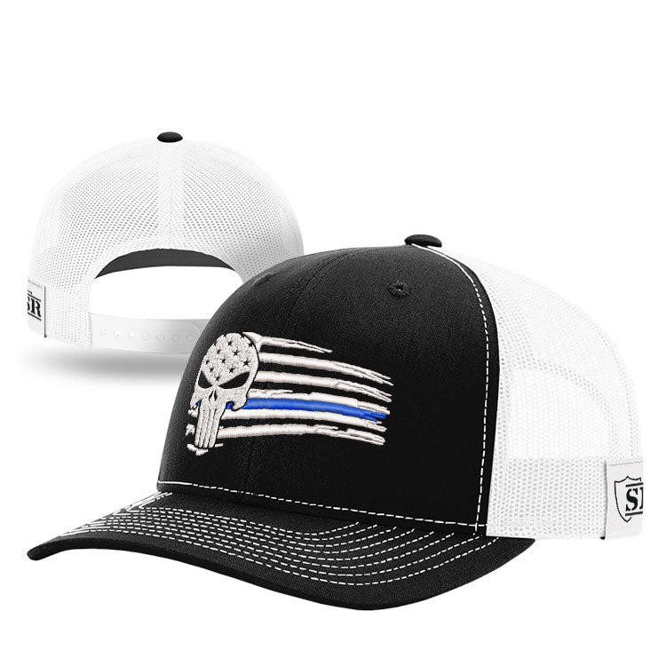 Punisher Blue Line Tethered Flag Hat