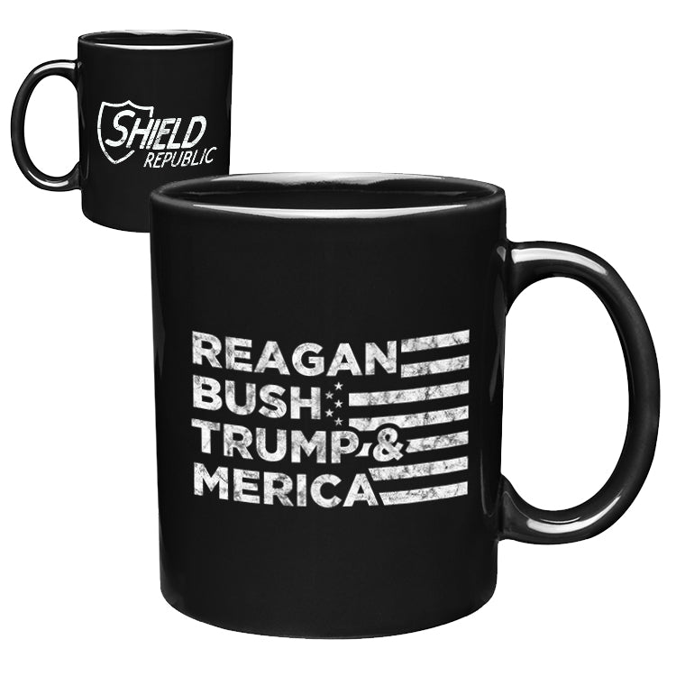 Reagan Bush Trump and Merica Coffee Mug
