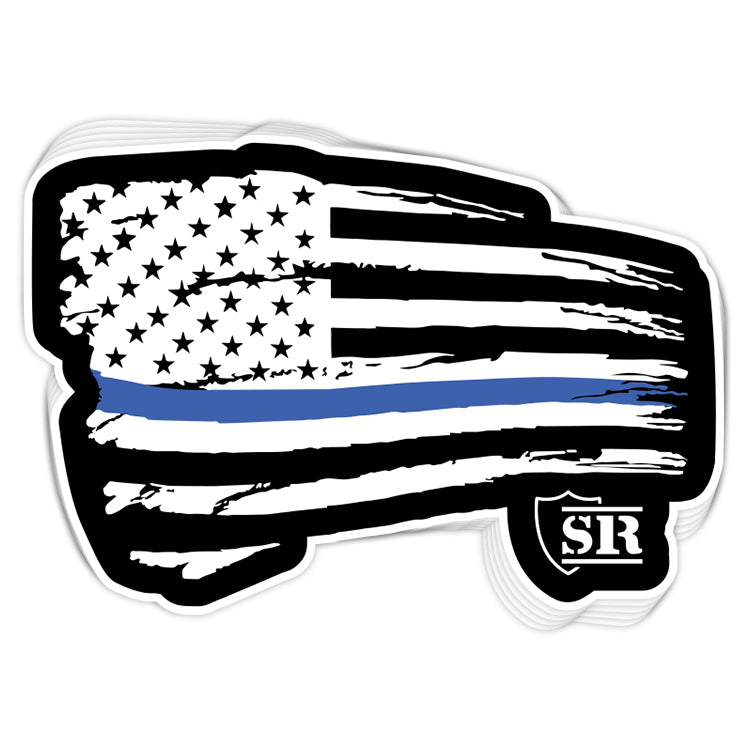 Blue Line Tethered Flag Decal