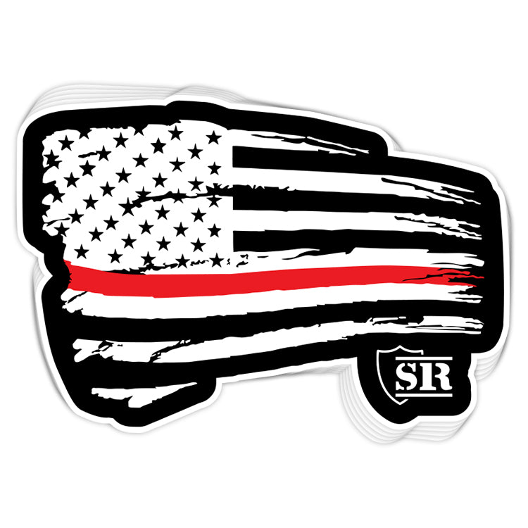 Red Line Tethered Flag Decal