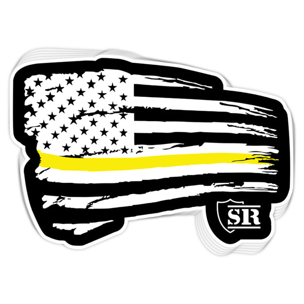 Gold Line Tethered Flag Decal