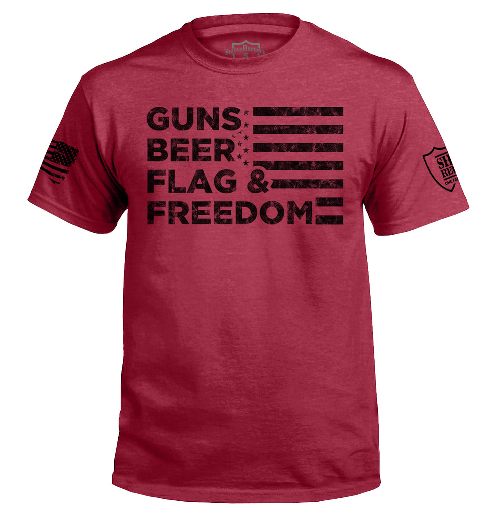 Guns Beer Flag and Freedom Black
