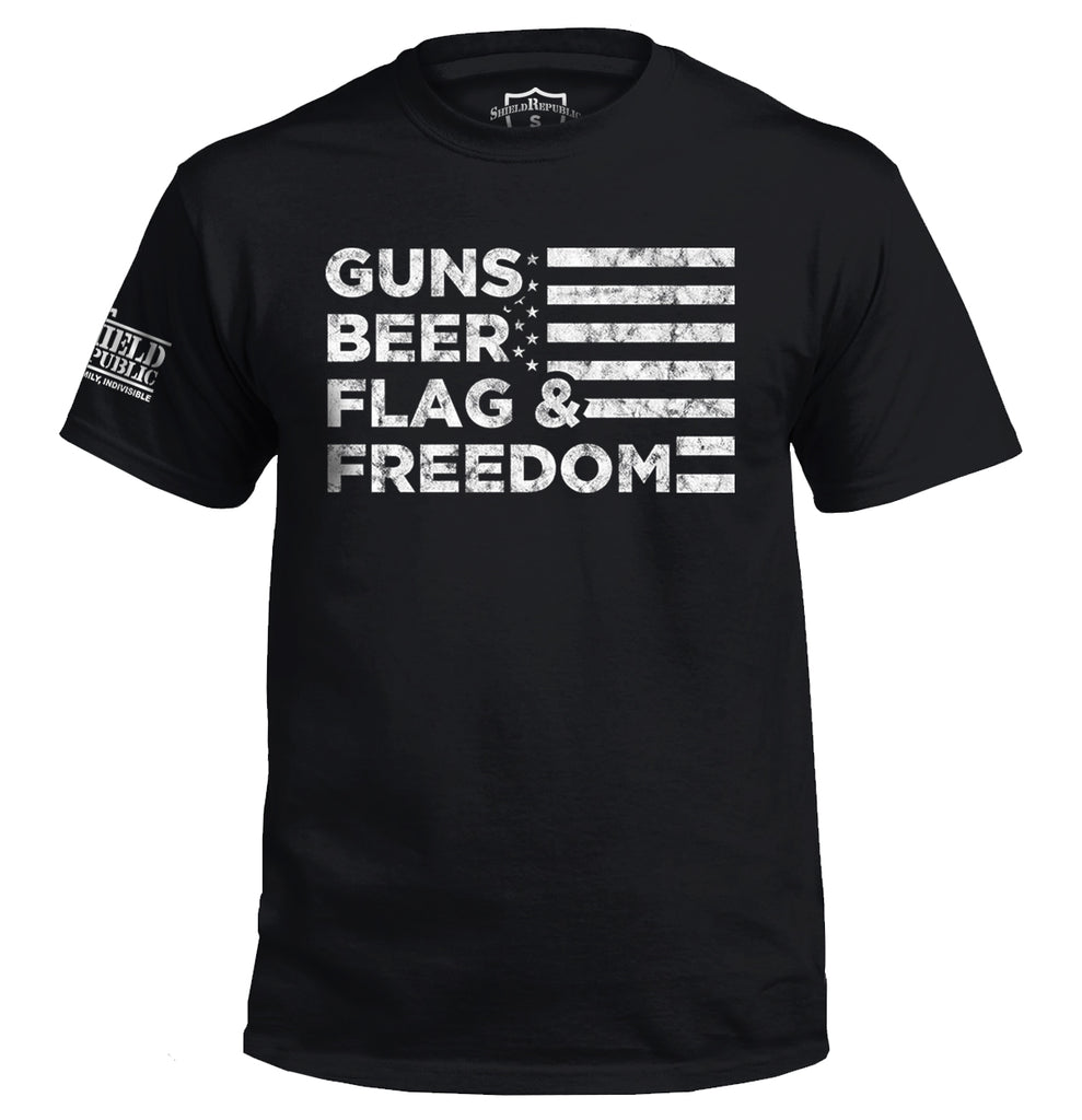 Guns Beer Flag and Freedom