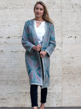 Lena Reversible Linen V-neck Jacket in Silver Grey and Pink Itajime Shibori