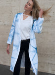 Lena Reversible Linen Vneck Coat in White and Indigo Itajime Shibori