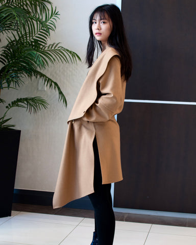 Camel Wool Coat With Wraparound Collar
