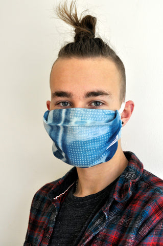 Indigo Shibori Face Mask With Pocket For Filter