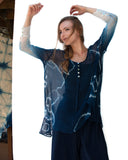 Deep Blues Silk Chiffon Blouse