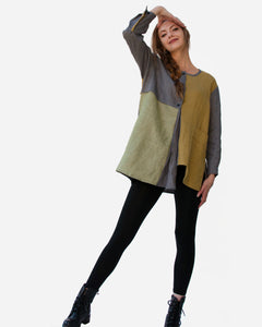 Linen Color Block Asymmetrical Tunic