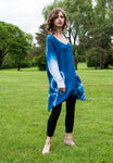 Sheer Linen Tunic in Indigo Ombre Sleeves