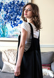 Black Pinafore Dress with Deep V-neck