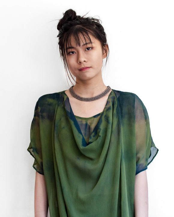 Green Goddess Layered Silk Chiffon Tunic