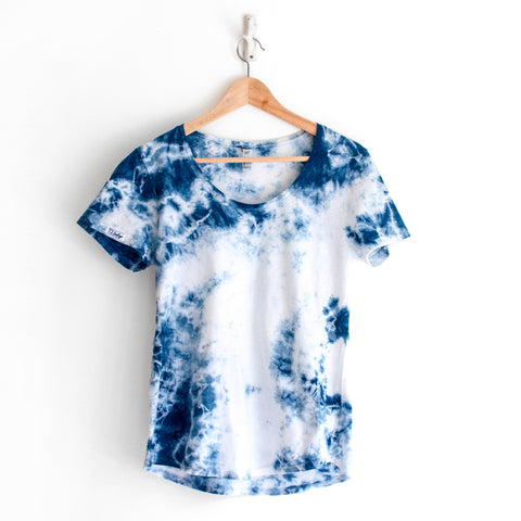 Indigo Shibori Cotton T-shirt in Spacetime