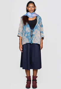 Long Sleeve Textured Kimono Cardigan With Ties