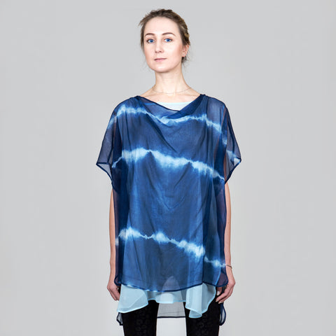 Indigo Goddess Top in Silk Chiffon