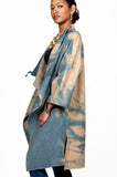 Tiedye Camel Wool Wrap Coat with Leather Pouch