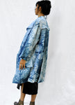 Arashi Shibori Linen Coat with Detached Pockets