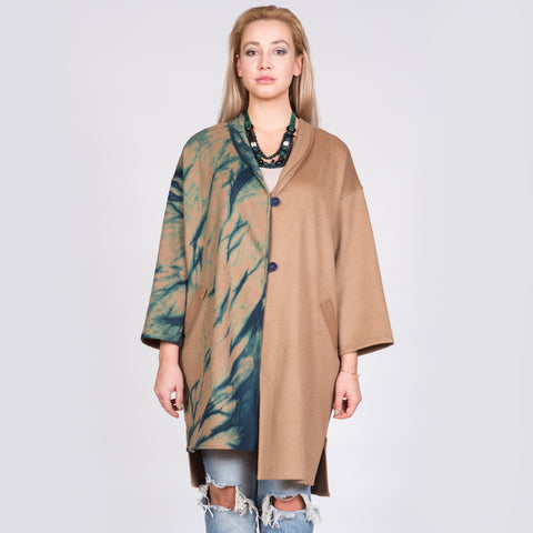 Asymmetrical Cashmere Wool Coat with Wrap Collar