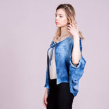 Natural Indigo Dyed Balloon Sleeve Blouson