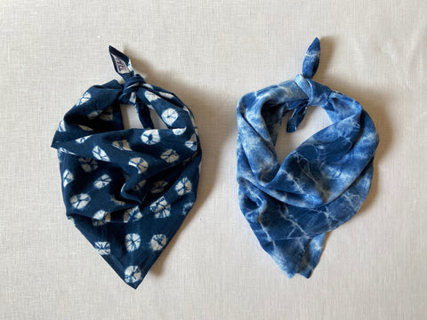 Set of Two Japanese Indigo Dyed Bandanas