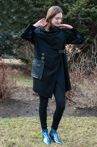 Black Wool Oversized Coat With Wraparound Collar and Leather Details