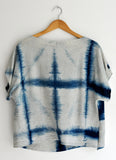Linen Indigo Starflower Shibori Boxy Blouse for Women in Oat
