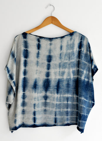 Linen Indigo Shibori Stripes Boxy Blouse for Women in Oat