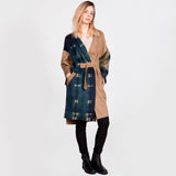 Johanna Cashmere Camel Coat with Belt and Itajime Shibori Panels