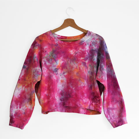 Organic Cotton Cropped Sweatshirt in Berry Explosive