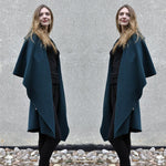 Dark Green Cashmere Coat With Wraparound Collar And Genuine Leather Pockets