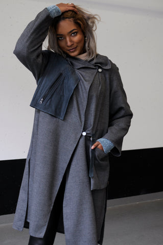 Grey Wool Coat with Leather Details