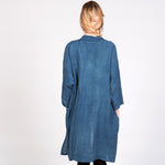 Capsule Collection Natural Indigo Dyed Linen Haluk Duster Coat