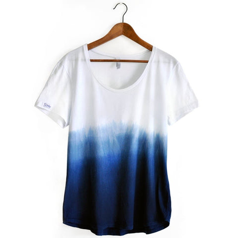 Dip Dye Indigo Ombre Cotton T-shirt